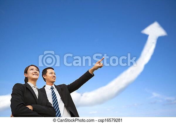 組, 事務, 觀看, 圖表, 生長, 雲 - csp16579281