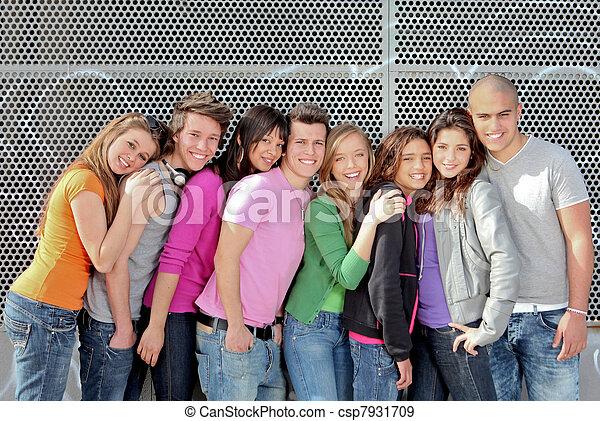 組, 學生, 或者, 多种多樣, 青少年, 校園 - csp7931709