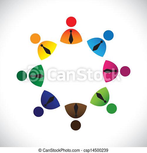 経営者, 概念, のように, カラフルである, &, graphic-, 会社, 共有, 労働者, イラスト, 共用体, icons(signs)., ベクトル, 概念, リング, 遊び, 友情, ショー, 多様性 - csp14500239