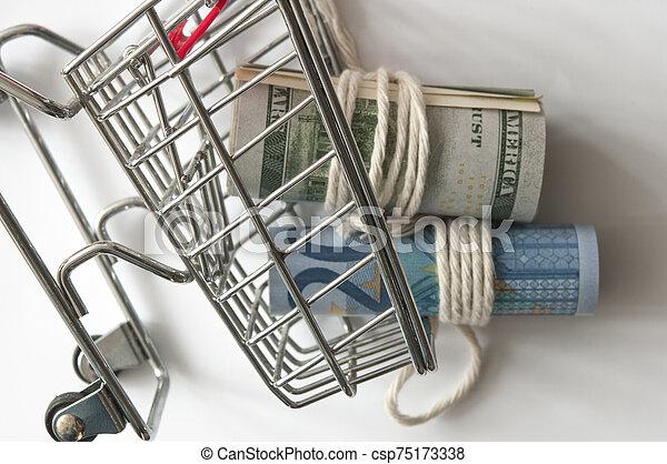 結ばれた, 回転した, 買い物, 現金, リボン, ミニ, cart. - csp75173338