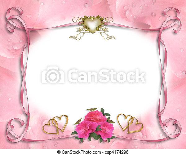 結婚式の招待, ボーダー, ピンク - csp4174298