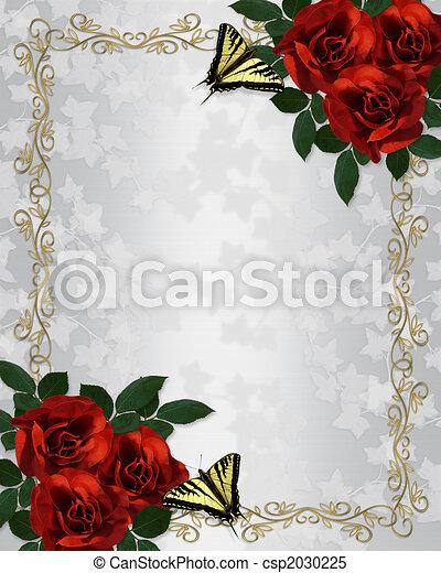 結婚式, ばら, 蝶, 招待, ボーダー, 赤 - csp2030225