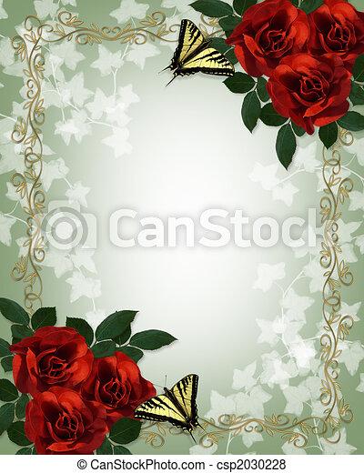 結婚式, ばら, 蝶, 招待, ボーダー, 赤 - csp2030228