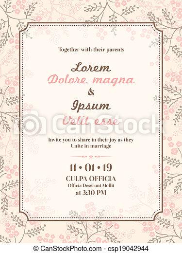 結婚式, カード, テンプレート, 招待 - csp19042944
