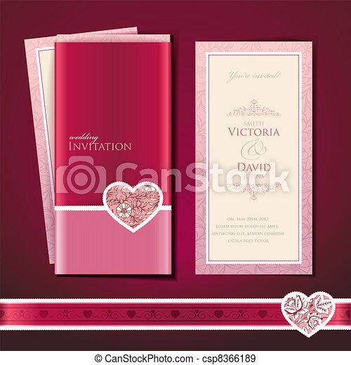 結婚式, カード, 招待 - csp8366189