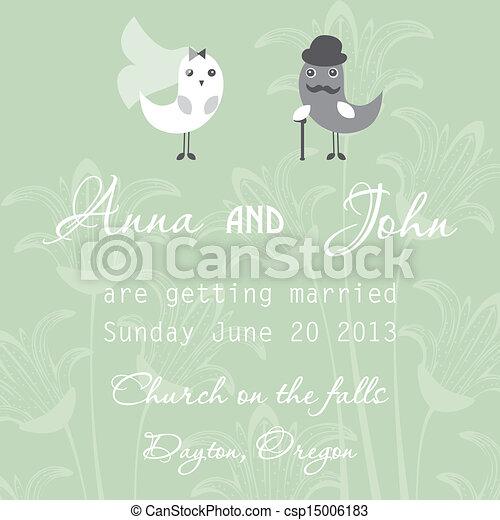 結婚式, カード, 招待 - csp15006183