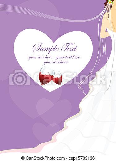 結婚式, カード, 招待 - csp15703136