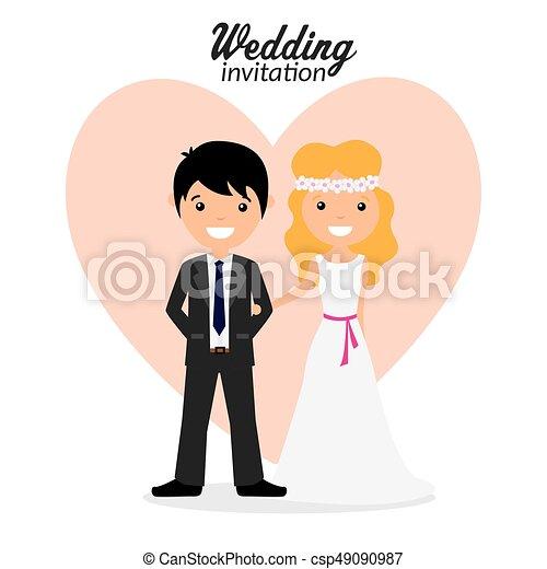 結婚式, カード, 招待 - csp49090987