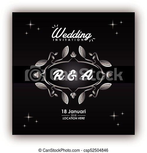 結婚式, カード, 招待 - csp52504846