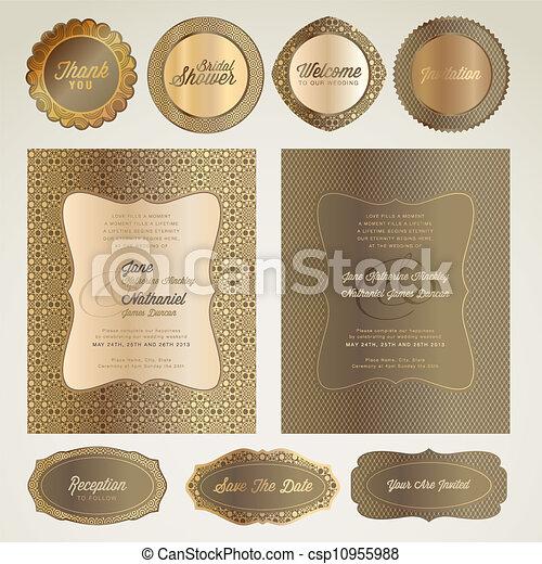 結婚式, セット, カード, 招待 - csp10955988