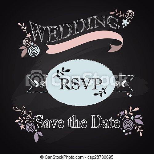 結婚式, セット, 招待 - csp28730695