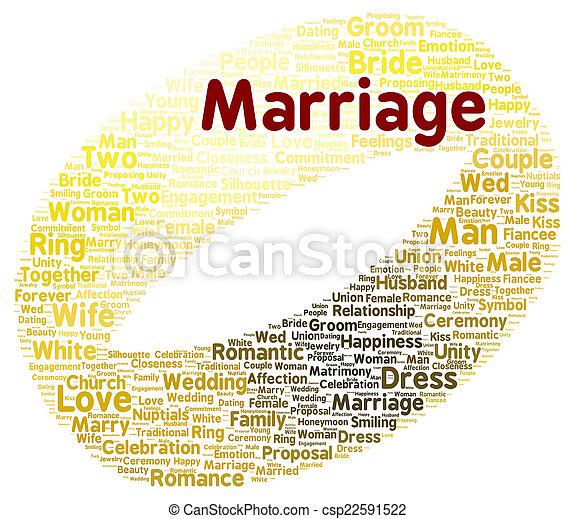 結婚, 形, 単語, 雲 - csp22591522