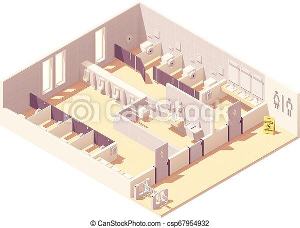 給料, 等大, ベクトル, 公共のトイレ - csp67954932