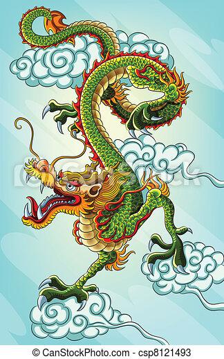 絵, 中国のドラゴン - csp8121493