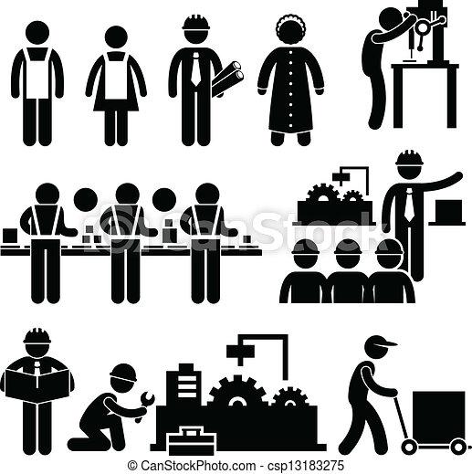 經理, 工人, 工廠, 工作 - csp13183275