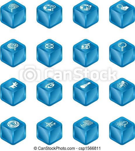 網の調査, 立方体, シリーズ, セット, アイコン - csp1566811