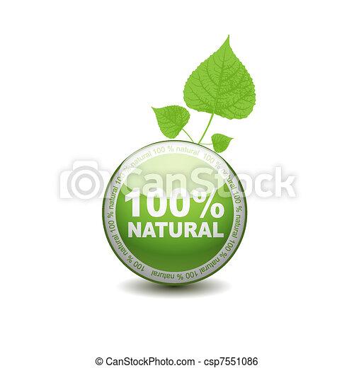 網, エコロジー, ボタン, パーセント, 押し, icon., 100 - csp7551086