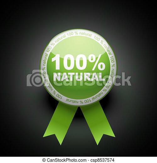 網, エコロジー, ボタン, パーセント, 押し, icon., 100 - csp8537574