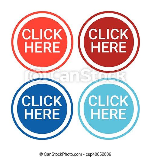 網, セット, カラフルである, ボタン, ここに, クリック, アイコン - csp40652806