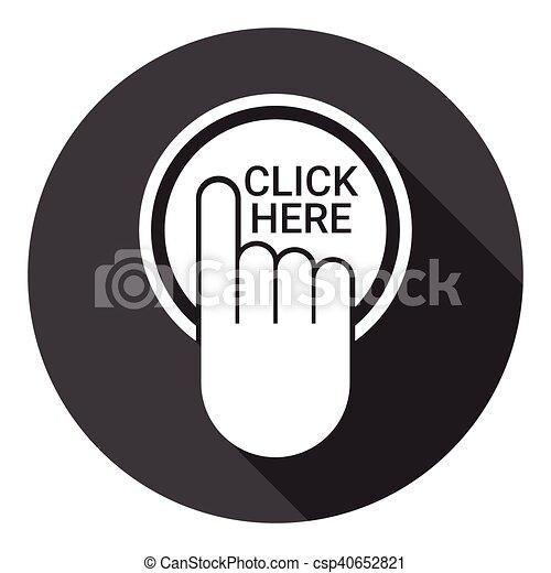 網, ボタン, ここに かちりと鳴らしなさい, アイコン - csp40652821