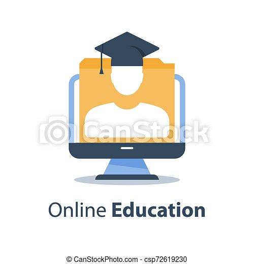 網, モニター, 試験, コース, セミナー, 人, コンピュータ, 遠い, 卒業, オンラインで, webinar, 教育, 帽子, 講義, 主題 - csp72619230