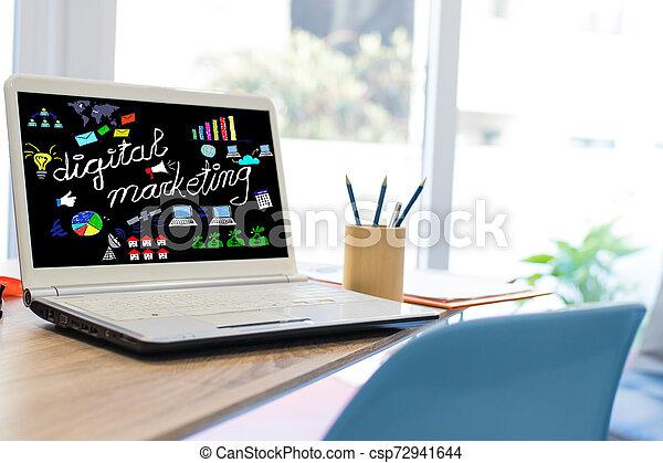 網, ラップトップ, デスクトップ, マーケティング, デジタル - csp72941644