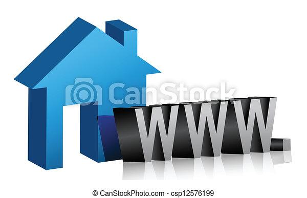 網, 接続, 家 - csp12576199