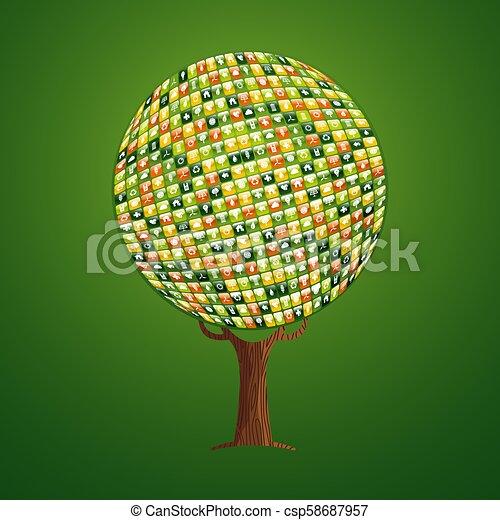 網, 概念, 助け, app, 木, 環境, アイコン - csp58687957