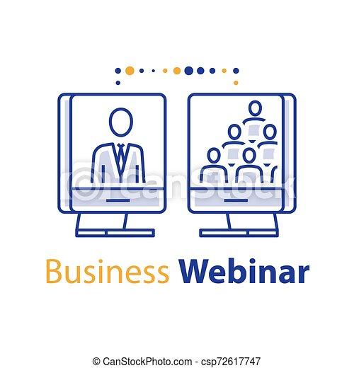 網, 訓練, ビジネス, 指導, オンラインコース, セミナー, mentoring, 聴衆, スピーカー, ミーティング, インターネット, 講義, webinar - csp72617747