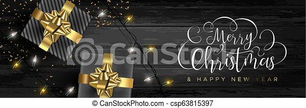 網, 贈り物, 木, 背景, 旗, クリスマス - csp63815397