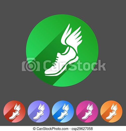 網, 靴, 平ら, シンボル, 印, 動くこと, ロゴ, ラベル
