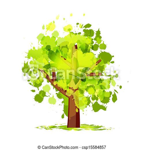 緑の概要, 木, あなたの, デザイン - csp15584857