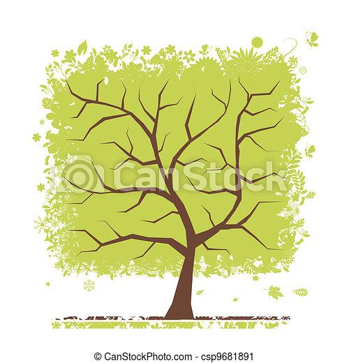 緑の概要, 木, あなたの, デザイン - csp9681891