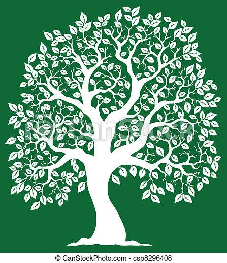 緑の白, 2, 木, 背景 - csp8296408