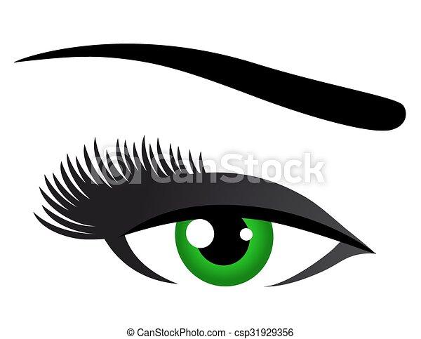 緑, まつげ, 目, 長い間 - csp31929356
