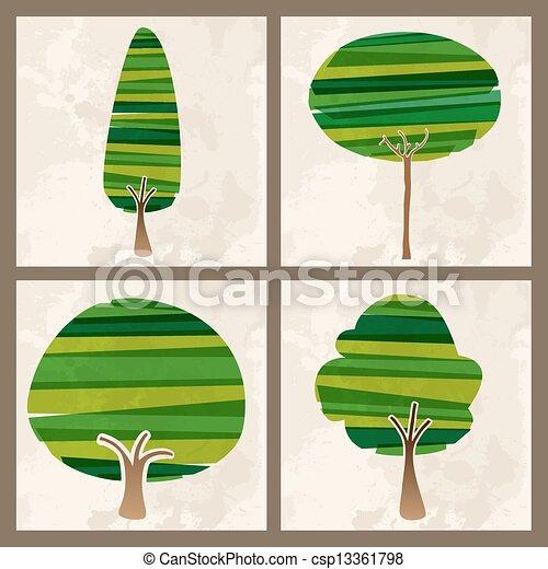 緑, セット, 木 - csp13361798