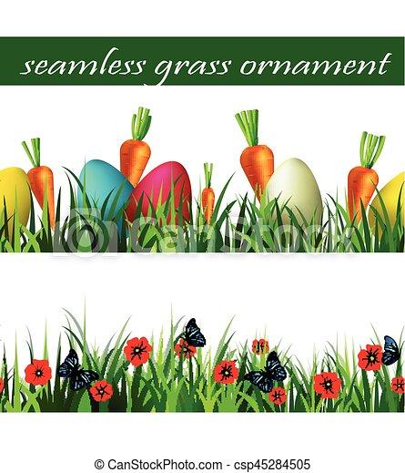 緑, セット, 草, seamless - csp45284505