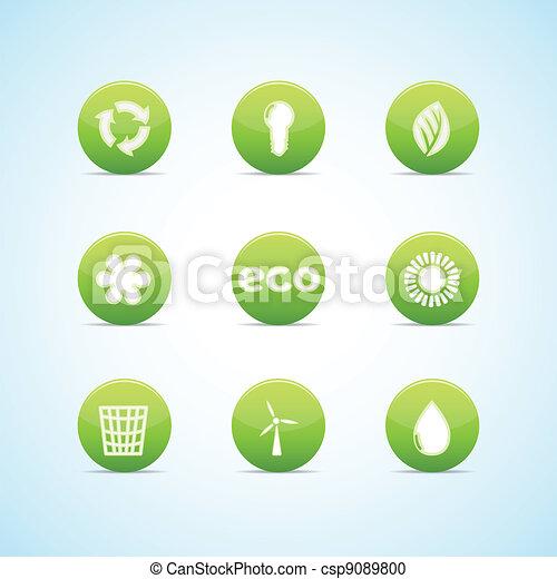 緑, デザイン, エコロジー, セット, アイコン - csp9089800