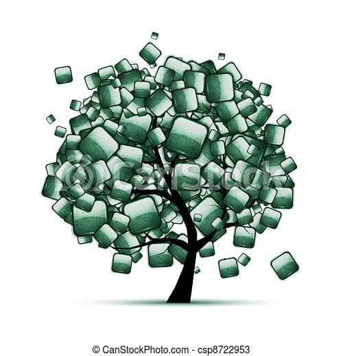 緑, 石, 木, あなたの, デザイン - csp8722953
