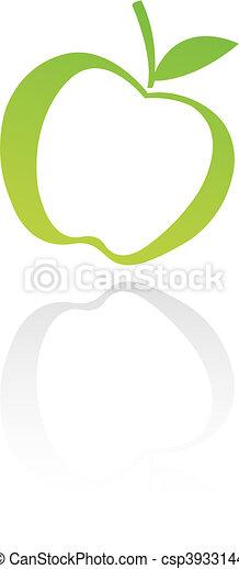 緑, 線画, アップル - csp3933144