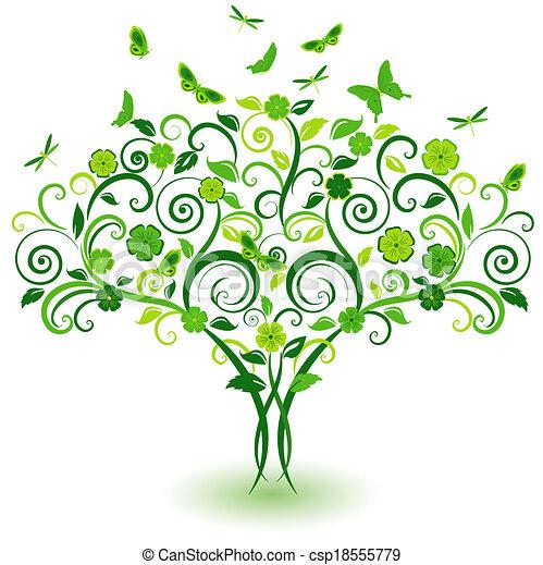 緑, 蝶, 木, レース - csp18555779