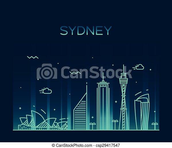 線である, イラスト, スカイライン, ベクトル, シドニー, 最新流行である - csp29417547