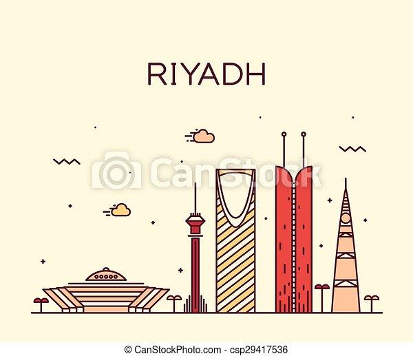 線である, riyadh, イラスト, スカイライン, ベクトル, 最新流行である - csp29417536