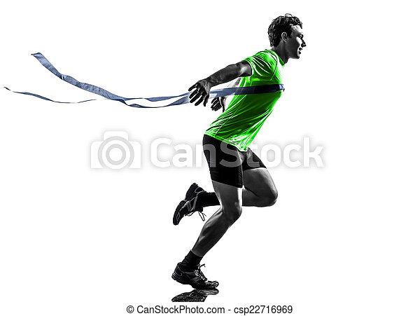 線, シルエット, ランナー, スプリンター, 男ラニング, 勝者, 終わり, 若い - csp22716969