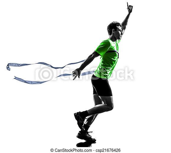 線, シルエット, ランナー, スプリンター, 男ラニング, 勝者, 終わり, 若い - csp21676426