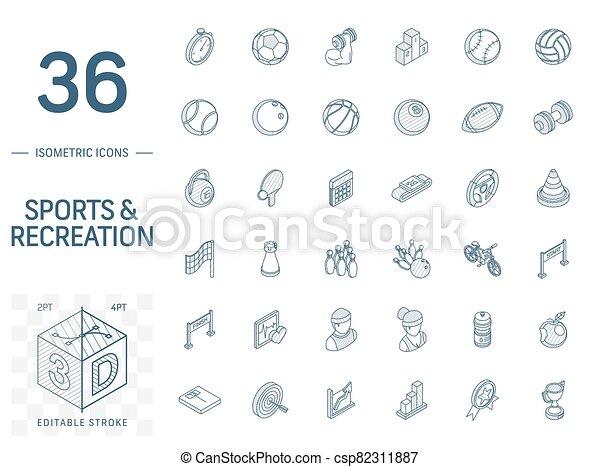 線, フィットネス, 3d, スポーツ, 等大, icons., ベクトル - csp82311887