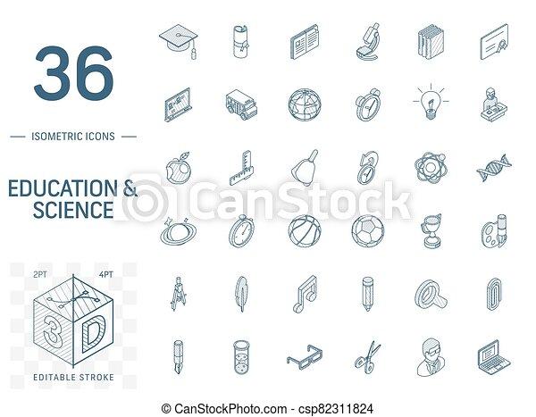 線, 勉強, 3d, 等大, icons., ベクトル, 教育 - csp82311824