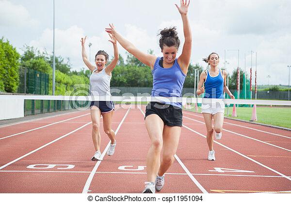 線, 勝利, 終わり, レース, 運動選手, 祝う - csp11951094