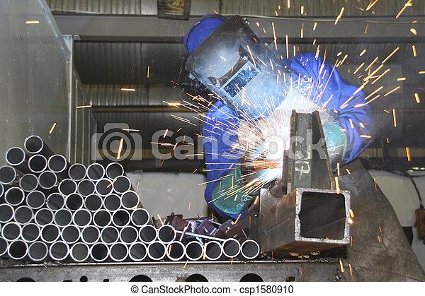 線, 生産, チューブ, 職人, 溶接 - csp1580910