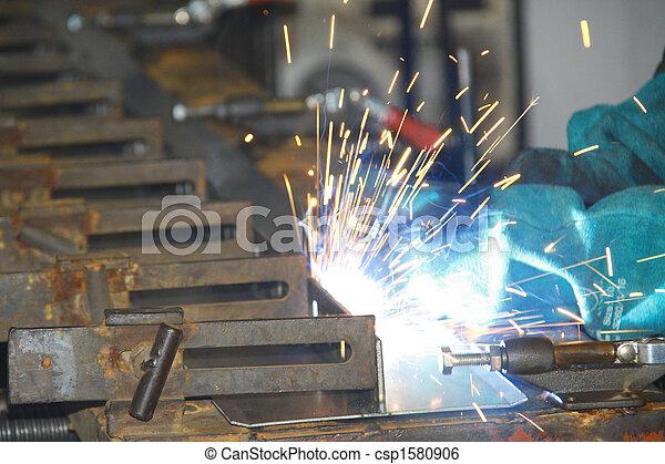 線, 生産, 労働者, 溶接, 小片 - csp1580906